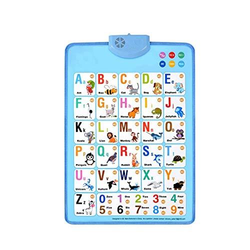22,08 x 16,54 IN Póster electrónico de música interactiva, placa de pared con diseño de animales del alfabeto para guardería y el hogar, aprendizaje temprano, niños preescolares (azul)