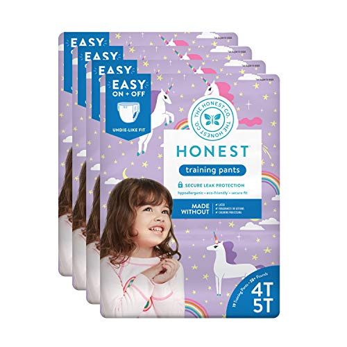 The Honest Company Toddler Training Pants, Unicorns, 4T/5T, 76 Count (Packaging May Vary)
