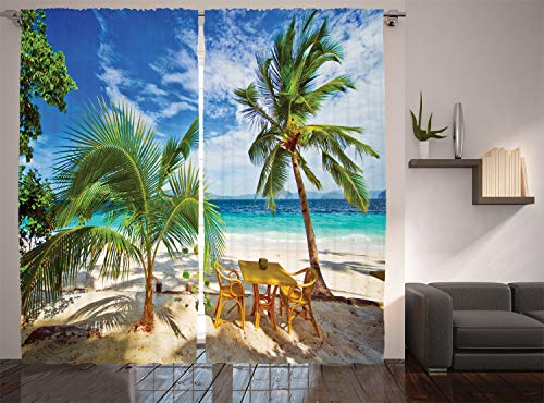 Ambesonne Coastal Curtains, Dining in Beach Under The Sun Rays Palm Trees Shadows Shades Vacation Image, Living Room Bedroom Window Drapes 2 Panel Set, 108' X 84', Green Blue Ivory
