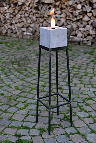 Beske-Manufaktur Betonfeuer inklusive Ständer (pulverbeschichtet) und Nachfüllwachs im Komplettset | Für Betonfeuer 13x13x13cm | Gartenfackel Feuerstelle Dauerdocht Kerze Tischfeuer | Höhe 60cm