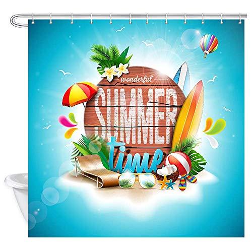 EdCott Sommer für Tropische Anlagen Badezimmers blüht Wasserball das Retro- hölzerne Hintergrundmusterraumhaus das einfach ist für Badezimmerbadezimmer-Hotelvorhänge säubern