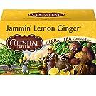 Celestial Seasonings Herbal Tea, Jammin' Lemon Ginger, 20 Count (Pack Of 6)