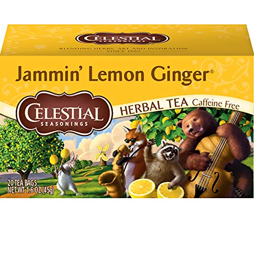 Celestial Seasonings Herbal Tea, Jammin' Lemon Ginger, 20 Count (Pack Of 6)