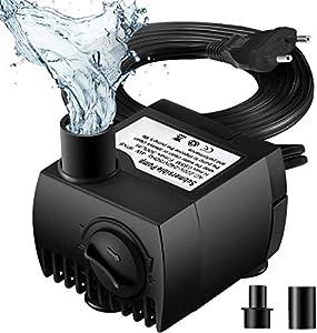OMORC Bomba de Agua Sumergible 300L/H con Filtro y 2 Boquillas AC220-240V Bomba de Agua Limpiable, Desmontable, para Acuario, Estanque, Pecera, Hidropónico de Bomba de Agua, Silenciosa.