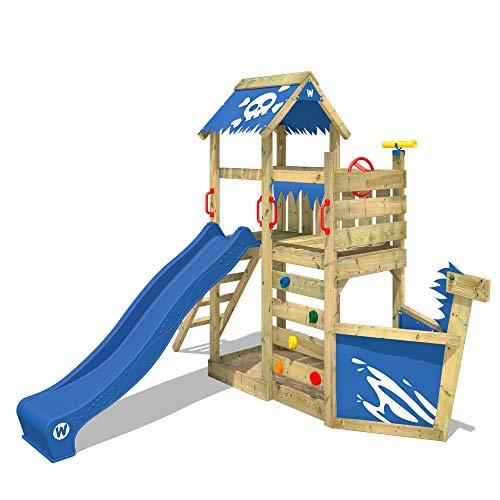 WICKEY Parque infantil de madera SpookyFlyer con tobogán azul Casa de juegos de jardín con arenero y escalera para niños