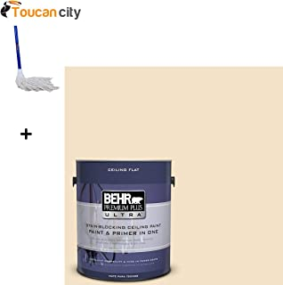 Toucan City String Mop and BEHR Premium Plus Ultra 1-Gal. No.UL180-16 Ceiling Tinted to Cream Puff Interior Paint 555801