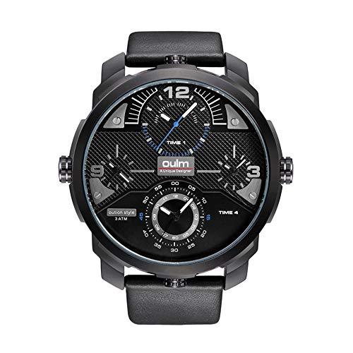 LYZZGZZ Armbanduhren Creative Men's Multifunktions-Multi-Time-Zone Wasserdichte Multicore-Uhren Schwarze Nadel mit schwarzem Schaft