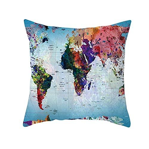 Daesar Funda Almohada,Fundas Cojines Sin Relleno,Mapa del Mundo Funda de Cojín 50x50 Multicolor Azul