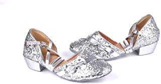 lcky Women's Sequins Sandals Girls Latin Dance Shoes Dancing Shoes