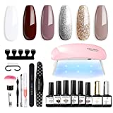Gel Nail Polish Kit with LED Light 6W Nail Dryer Lamp 6 Pcs Milky White Gold Brown Nude Gel Polish with 10ml Gel Top and Base Coat, Nail Tools, Portable Manicure Soak Off Gel Nail Kit Home DIY for Starters Gift for Women by Modelones