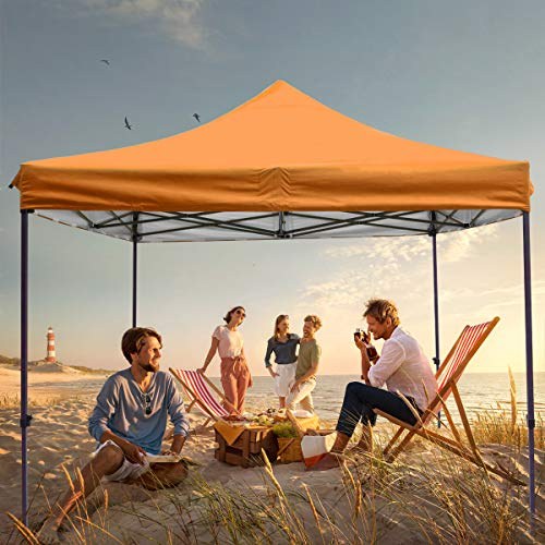 Bumblr 10 ft Orange Pop Up Canopy Folding Tent with 4 Canopy sandbags 4 Tent Pile,Roller Bag for Outdoor usegarden Shade- Commercial Ez Canopy UV Protection Folding Instant Awning Protable Party Tent