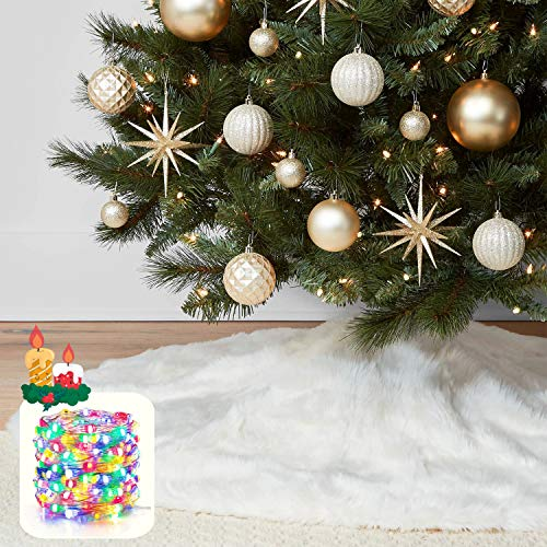 "KD KIDPAR 48"" Faux Fur Christmas Tree Skirt for Holiday Tree Decorations with 5 Meters 50LED Copper Wire String – White Plush Tree Skirt Xmas Decoration"