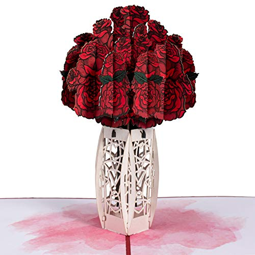 Paper Love Red Roses Bouquet Valentines Day Pop Up Card, Handmade 3D Popup Greeting Cards, For Valentines Day, Mothers Day, Wedding, Anniversary, Birthday, Love, Thank You, Get Well, All Occasions | 5' x 7'