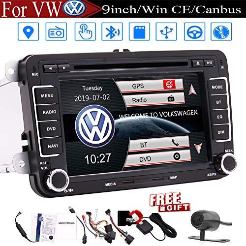 7-Zoll-Autoradio-Touch-Screen-Doppel-DIN-Auto-Receiver Stereo Head Unit in Dash GPS-Navigation für Volkswagen Bluetooth Auto-DVD-CD-Player for Passat Golf MK5 Jetta Tiguan T5 Skoda Sitz Backup-Kamera