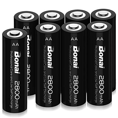 BONAI AA Rechargeable Batteries 2800mAh 1.2V Ni-MH Low Self Discharge (Pack of 8)