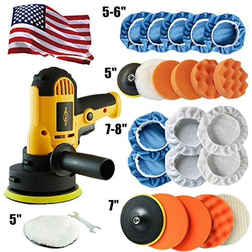 Autocare Car Polisher Buffer Kit Sander Wax Machine Variable Speed w/ 5' & 7' Bonnet Pads