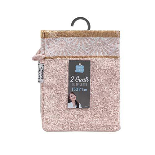 douceur d'intérieur 2 gants de toilette 15x21 cm eponge jacquard goldy rose/or