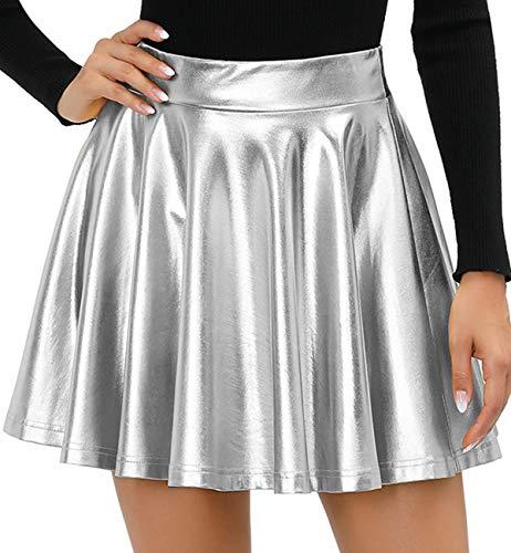 Twotwowin Women's Fashion Shiny A-Line Skirt Stretchy Flared Pleated Mini Metallic Skater Skirt(sl,m)