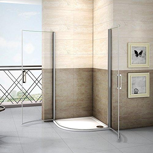 90x90x195cm Runddusche Duschkabine Duschabtrennung Viertelkreis Drehtür Dusche 6mm Nano Glas ohne Duschtasse