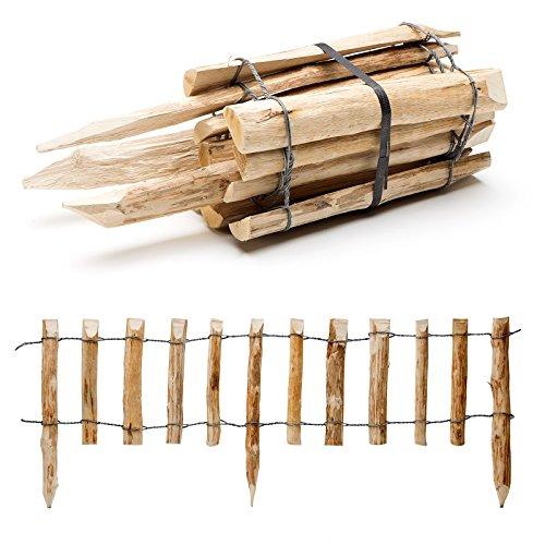 BooGardi Beeteinfassung - Steckzaun aus Holz · Höhe 33cm - Länge 120cm · Lattenabstand 7-9cm · Mit integrierten Pfosten