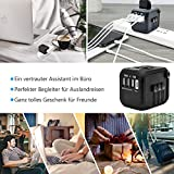 Reiseadapter Reisestecker Universal Travel Adapter USB Reiseadapter Weltweit Steckenadapter USB Stecker Steckdose Adapter mit 3 USB Ports+Type C für 224 Ländern Europa UK Australien USA China - 2