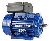 MOTOR ELECTRICO MONOFASICO 1,1KW / 1,5CV 220V 3000RPM B3 / PATAS TAMAÑO 80 - EJE 19mm ALTO PAR DE ARRANQUE ALREN