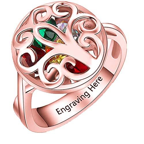 925 Plata Personalizada 1-10 Piedra Anillo Infinito Amor Memoria Personalizada Mujer Anillo Día De La Madre Cumpleaños Compromiso Aniversario Anillo Para Mujer(Oro rosa-20.25)