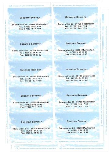 Visitenkarten mit Ihrer kompletten Adresse im Wolkenmotiv, 20 Stück, 2 Bögen mit Microperforierung