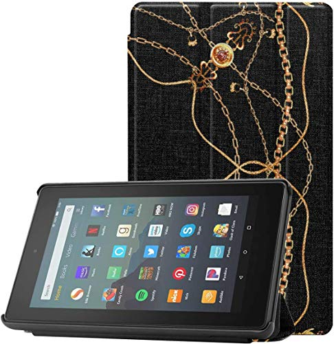 Funda Kinde Fire 7 Tablet Case Cadenas Doradas y borlas Kindle Flip Case para Fire 7 Tablet (novena generación, versión 2019) Ligero con Reposo automático/activación