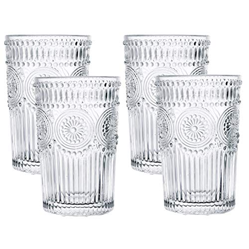 Kingrol 4 Pack 12.5 oz Romantic Water Glasses, Premium Drinking Glasses Tumblers, Vintage Glassware Set for Juice, Beverages, Beer, Cocktail
