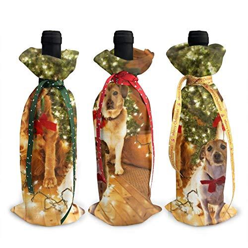 Bolsas de la cubierta de la decoración de la cubierta de la botella de vino impresa de la fiesta del perro de la Navidad, para las fuentes del partido de la degustación del vino de Navidad