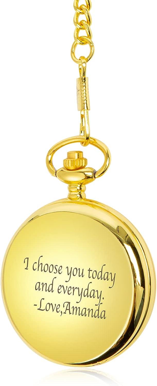 Reloj de Bolsillo Personalizado con Grabado de Texto Clásicos Relojes de Bolsillo con Cadena para el Hombres Regalo para Cumpleaños Dia del Padre Navidad