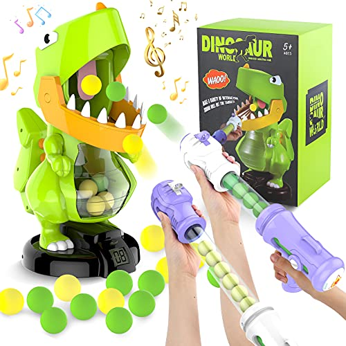FANURY Dinosaur Shooting Games Toy for Kids 5 6 7 8 9 10+Year Old, Shooting Target Practice Kids Toy with Sound LCD Score Record, 2 Air Pump Toy Guns, 24 Soft Foam Balls, Gift Toys for Boys Girls