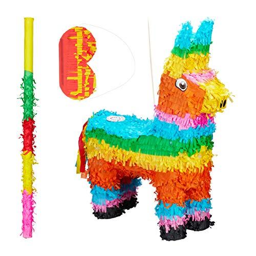 3 TLG. Pinata Set Lama, Pinatastab mit Augenmaske, Piniata für Kinder, Stock & Augenbinde, Esel Piñata ungefüllt, bunt