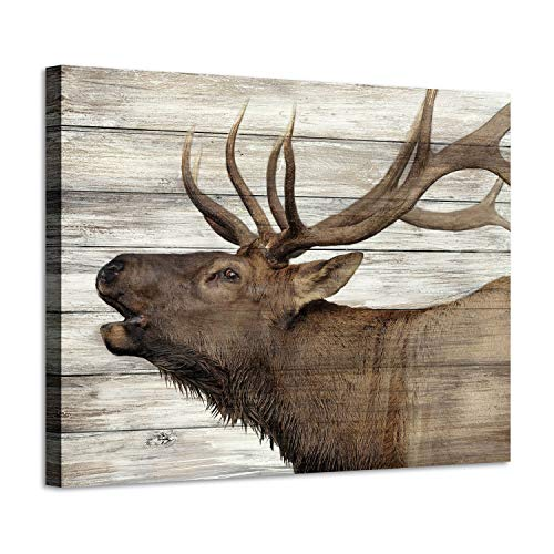 Elk Pictures Canvas Wall Art: Wildlife Animals Artwork Print on Wrapped Canvas Paintings for Bedroom (24' W x 18' H,Multi-Sized)