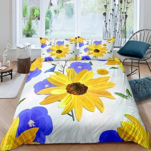 HKDGHTHJ 3D duvet cover 4 piece set Purple yellow flower plant daisy 220x230 CM Printing Bedding Set Duvet Cover/Comforter Cover Bed Sheet Pillowcases Bed Linens Home Textile
