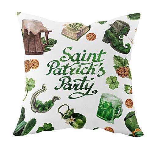 Lsjuee St Patricks Day Decoraciones Fundas de Almohada 18x18 Pulgadas para Irish Shamrock Decoración del hogar Throw Pillows Cover Green St. Fiesta del día de San Patricio Sofá Dormitorio Decoracion