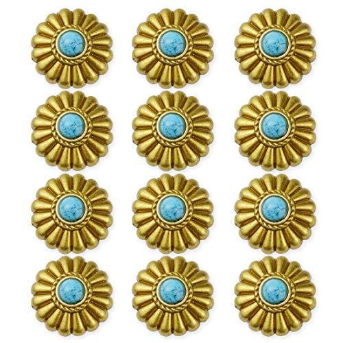 コンチョ ボタン ターコイズ 12個セット 小菊 ミニフラワー 17mm ネジ 付き レザー クラフト 財布 バッグ (ゴールド)