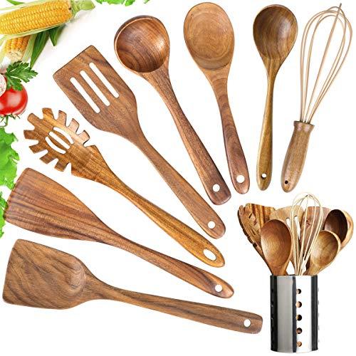 Wooden Utensils Set with HolderWooden Cooking Utensils Natural Teak Wood Cooking SpoonsNonstick Kitchen Utensils with Spatula9