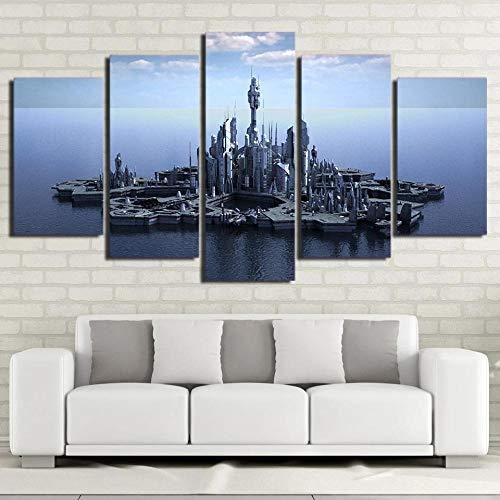 KOPASD Bilder Stargate Atlantis 150X80 cm 5 Teilig Leinwandbilder Bild Auf Leinwand Wandbild Kunstdruck Wanddeko Wand Wohnzimmer Wanddekoration Deko