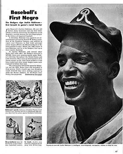 Historic Photographs Foto: Fotos de Look Magazine artículo, Béisbol, Jackie Robinson Brooklyn Dodgers, 1945. Tamaño: 8 x 1