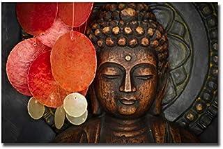 ملصق فني جداري بصورة تمثال بوذا من YUZHE مطبوع على قماش كتاني لتزيين غرفة المعيشة (اللون: TGH6227، المقاس (بالإنش): 50×70س...