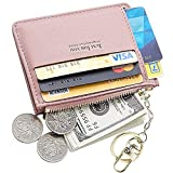 PSEEHEE Vegan Slim Minimalist Wallet Women, with Coin Slot Keychain, Small Front Pocket