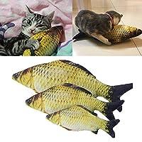 SODIAL ペット/猫のおもちゃ かわいい魚の形 咀嚼のおもちゃ シミュレーションのぬいぐるみ魚 イヌハッカ付き 猫/子猫用20cm