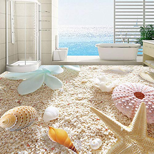 3D Vloeren Behang Shell Op Het Strand Aangepaste PVC Foto Behang Woonkamer Badkamer Verwijderbare Direct Peel Off Vloer Sticker 150 x 105 cm.