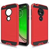 Wtiaw:Moto G7 Play Case,Moto G7 Optimo Case,Moto Optimo XT1952DL Phone Cases,T-Mobile Revvlry Case,TPU+PC Material Brushed Metal Texture Hybrid Dual Layer Defender Case for Moto G7 Play-CL Red