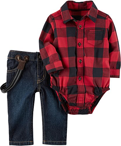 Carter's Baby Boys' 2 Piece Plaid Bodysuit and Overalls Set Red 9 Months