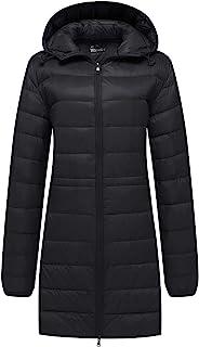 Women's Packable Down Jacket Hooded Puffer Jacket Winter Long Coat