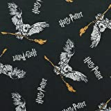 Jersey Stoff Harry Potter, Schneeeule Hedwig, anthrazit