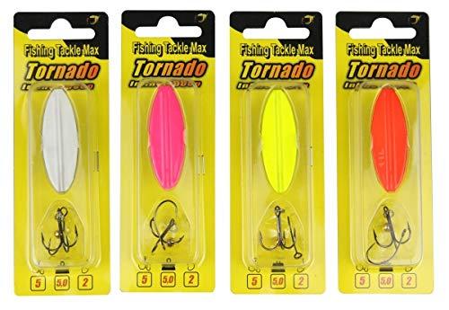 Tornado Inline Spoon - Señuelo Intermitente para Pesca de Trucha (Peso: 5 g), Color Negro y Naranja